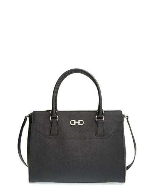 Ferragamo | Black 'medium Beky' Saffiano Leather Tote | Lyst