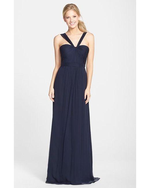 Amsale | Blue X-strap Silk Chiffon Gown | Lyst