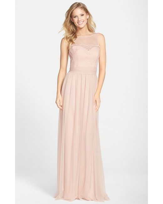 Amsale | Pink Lace & Tulle Gown | Lyst