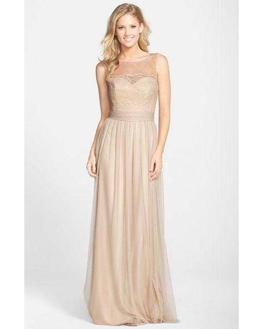 Amsale | Metallic Lace & Tulle Gown | Lyst