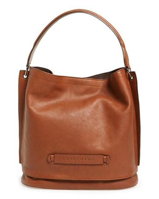 Longchamp | Brown '3d' Leather Hobo | Lyst