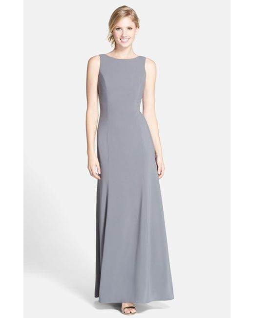 Dessy Collection | Gray Crepe Trumpet Gown | Lyst