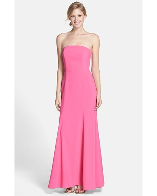 Dessy Collection | Pink Strapless Crepe Gown | Lyst
