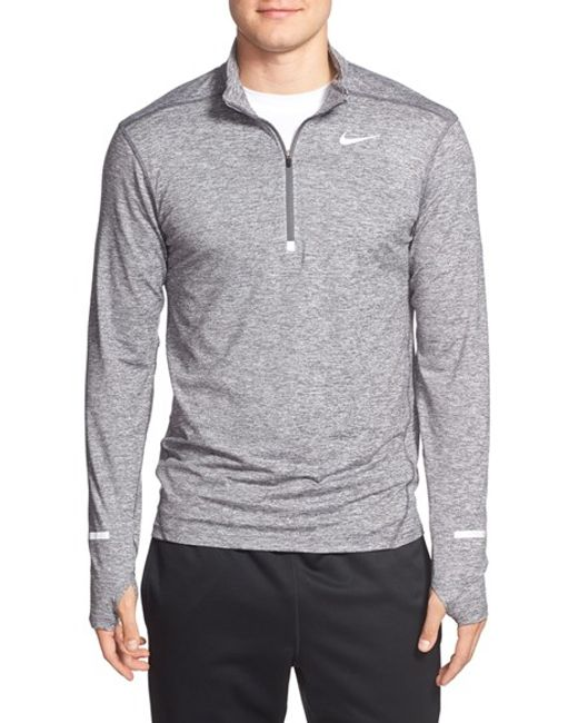 Nike | Gray 'element' Dri-fit Quarter Zip Running Top for Men | Lyst