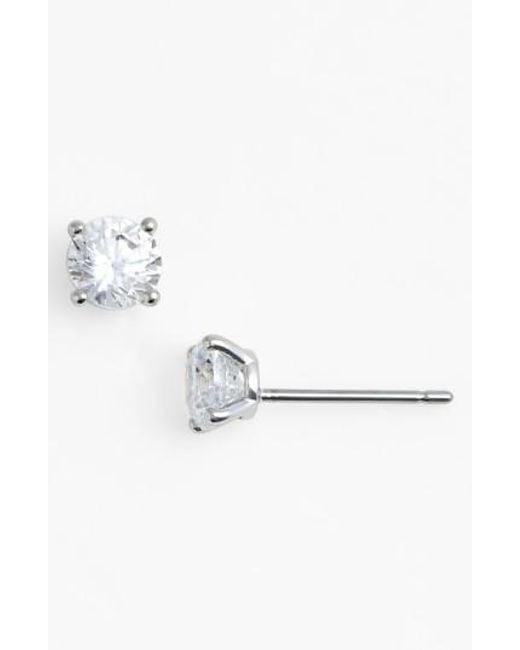 Nadri   Metallic Small Cubic Zirconia Stud Earrings   Lyst