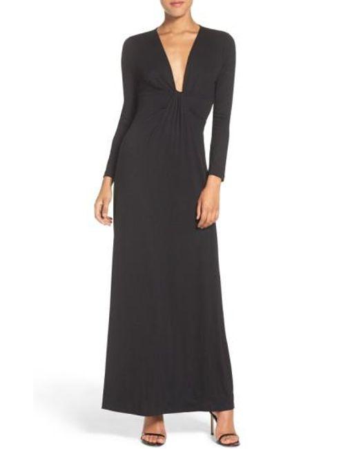 Fraiche By J | Black Plunge Neck Jersey Gown | Lyst