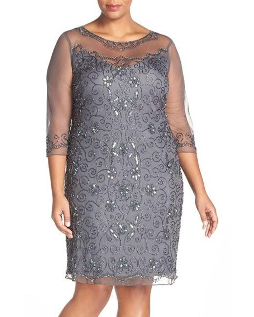 pisarro nights illusion neck beaded shift dress in gray