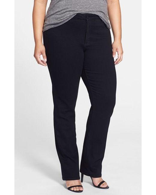 NYDJ | Black 'marilyn' Stretch Straight Leg Jeans | Lyst