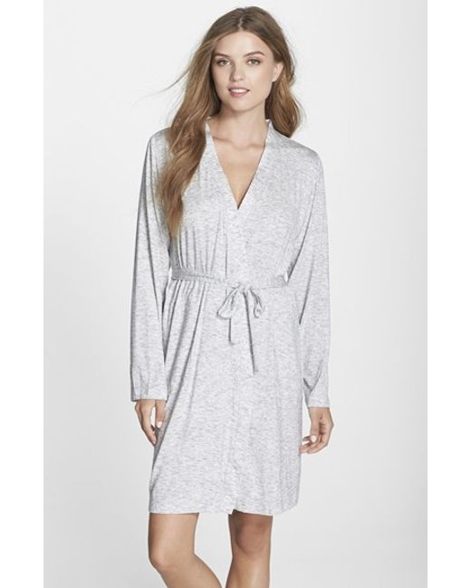 DKNY | Gray 'city Essentials' Short Robe | Lyst