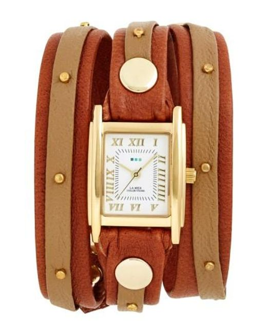 La Mer Collections | Brown Studded Leather Wrap Watch | Lyst