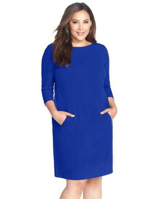 Tahari   Blue By Arthur S. Levine Seamed A-line Dress   Lyst