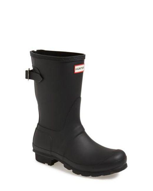 Hunter | Black Original Short Back Adjustable Rain Boot | Lyst