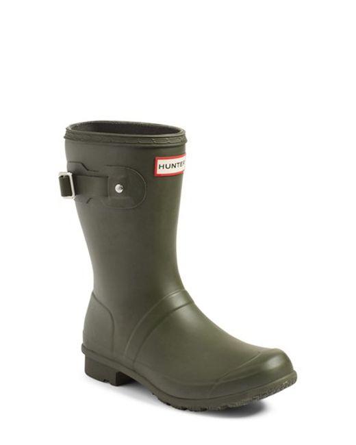 Hunter Original Short Back Adjustable Rain Boot In Green
