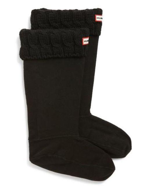 Hunter | Black Original Tall Cable Knit Cuff Welly Boot Socks | Lyst