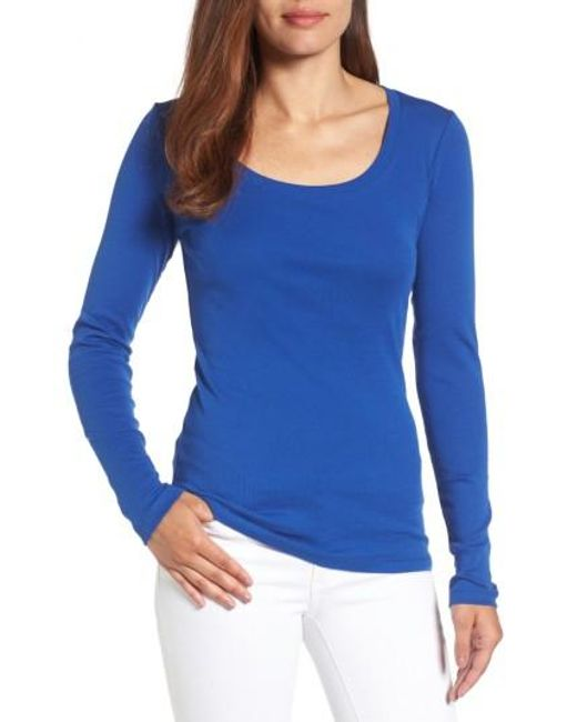 Caslon | Blue Caslon 'melody' Long Sleeve Scoop Neck Tee | Lyst