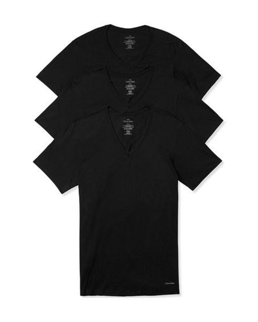 Calvin Klein | Slim Fit 3-pack Cotton T-shirt, Black for Men | Lyst