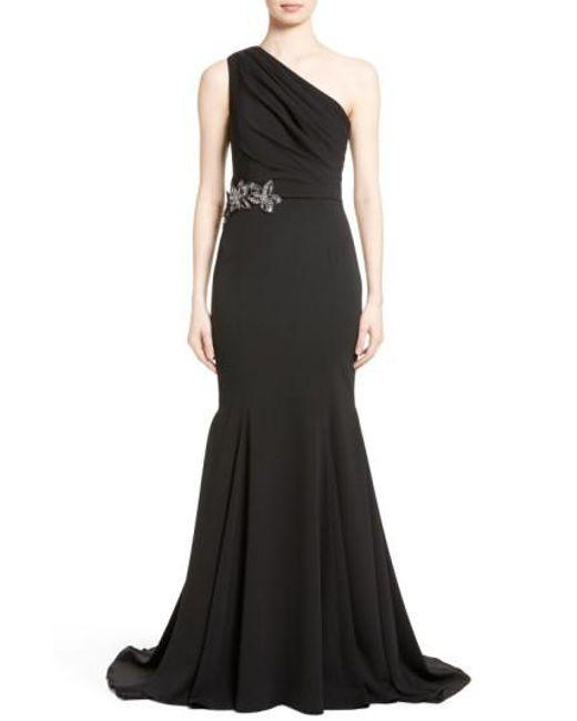 Badgley Mischka | Black Odessa Embellished One-shoulder Gown | Lyst