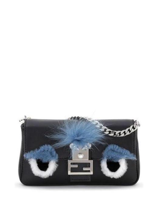 Fendi | Blue Micro Monster Leather Baguette Bag - Black | Lyst