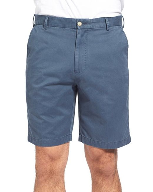 Peter Millar | Blue 'winston' Washed Twill Flat Front Shorts for Men | Lyst