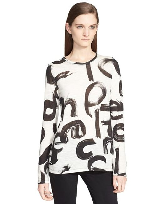 Proenza Schouler | White Print Tissue Jersey Long Sleeve Top | Lyst