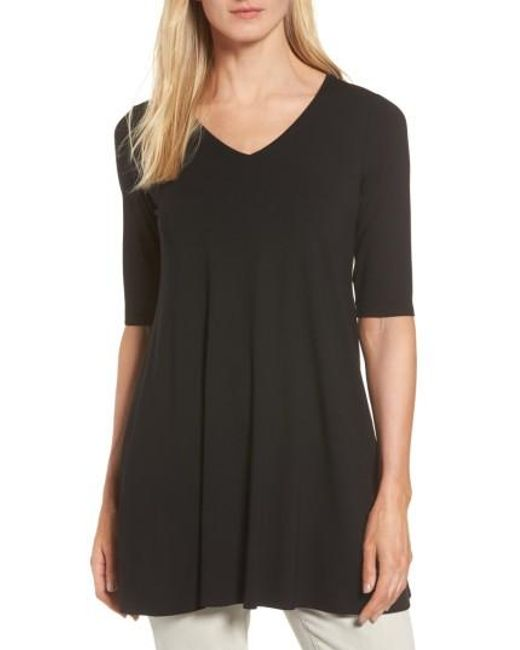 Eileen Fisher | Black V-neck Tunic | Lyst