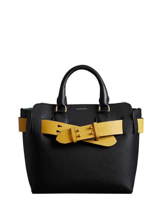 fcb1736ada76 Lyst - Burberry Small Contrast Belt Leather Tote - in Yellow