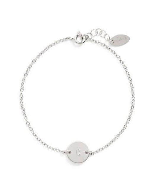 Nashelle   Metallic Sterling Silver Mini Initial Disc Bracelet   Lyst