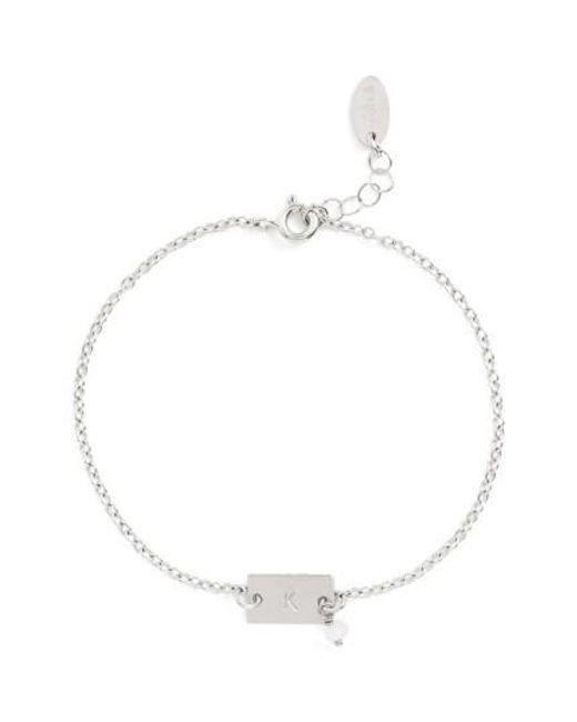 Nashelle   Metallic Shaka Initial Sterling Silver Bar Bracelet   Lyst