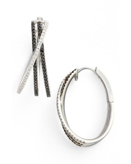Bony Levy | Black 3-row Crossover Diamond Hoop Earrings (limited Edition) (nordstrom Exclusive) | Lyst