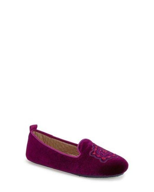 Acorn | Purple Embroidered Velvet Slippers | Lyst