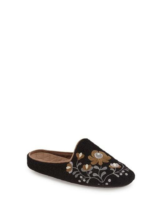 Acorn | Black Flower Scuff Slippers | Lyst