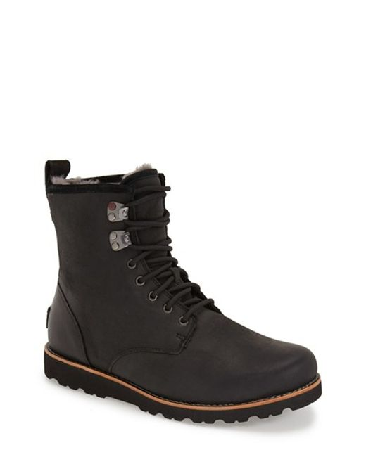 Ugg | Black Ugg Hannen Plain Toe Waterproof Boot With Genuine Shearling for Men | Lyst