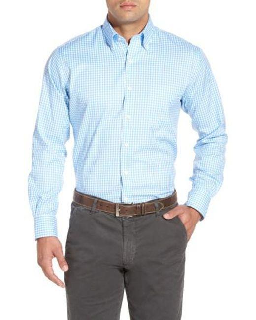 Peter Millar | Blue 'nanoluxe' Regular Fit Wrinkle Resistant Twill Check Sport Shirt for Men | Lyst
