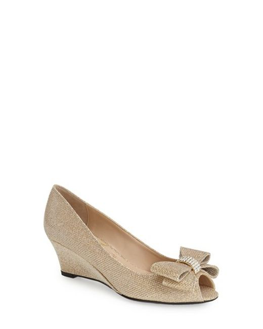 J. Reneé | Metallic 'blare' Bow Wedge Peep Toe Pump | Lyst