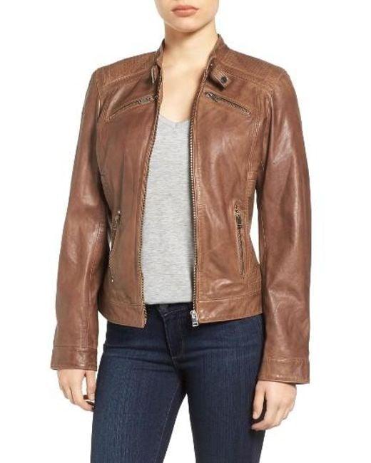 Lamarque | Black Leighton Stitch Detail Lambskin Leather Jacket | Lyst