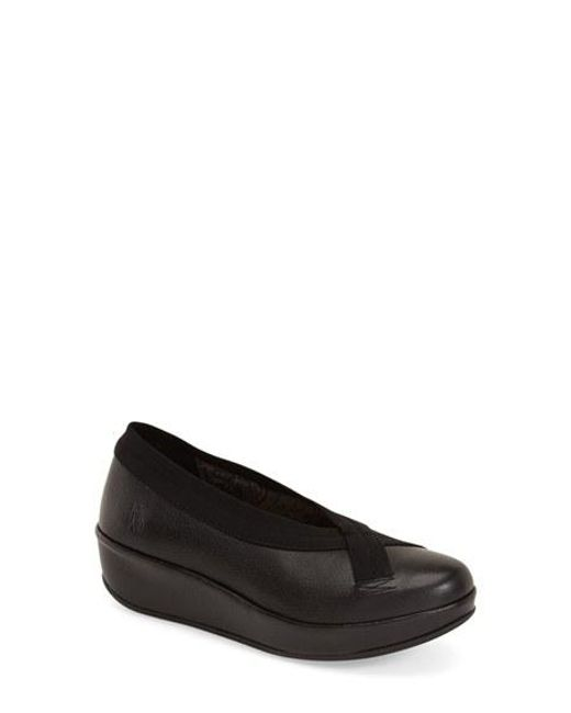 Fly London | Black Platform Grained-Leather Wedges | Lyst