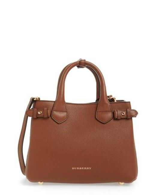 Burberry | Brown 'small Banner' Leather Tote | Lyst