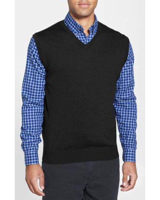 Cutter & Buck | Black 'douglas' Merino Wool Blend V-neck Vest for Men | Lyst