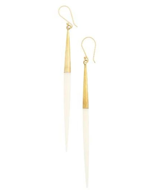 Soko | Metallic Capped Quill Drop Earrings | Lyst