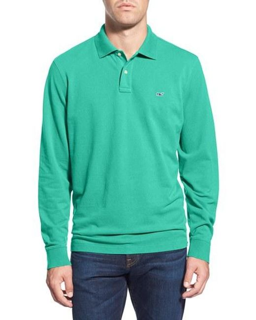 Vineyard Vines | Blue Long Sleeve Pique Knit Polo for Men | Lyst