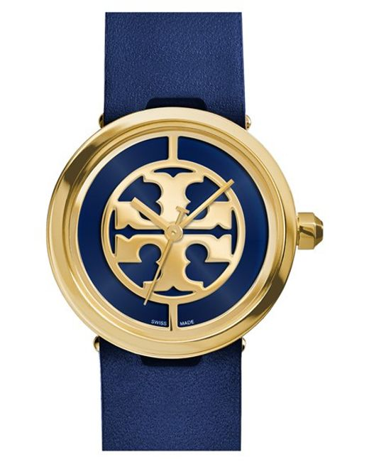 Tory Burch | Blue 'reva' Leather Strap Watch | Lyst
