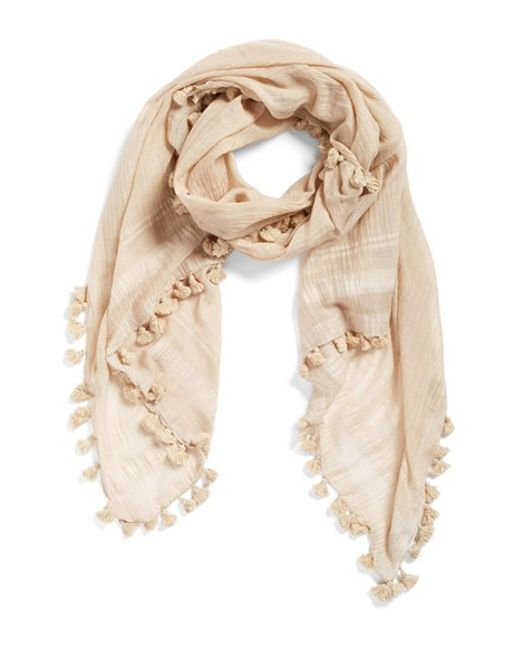 La Fiorentina | Natural Cotton & Silk Scarf | Lyst