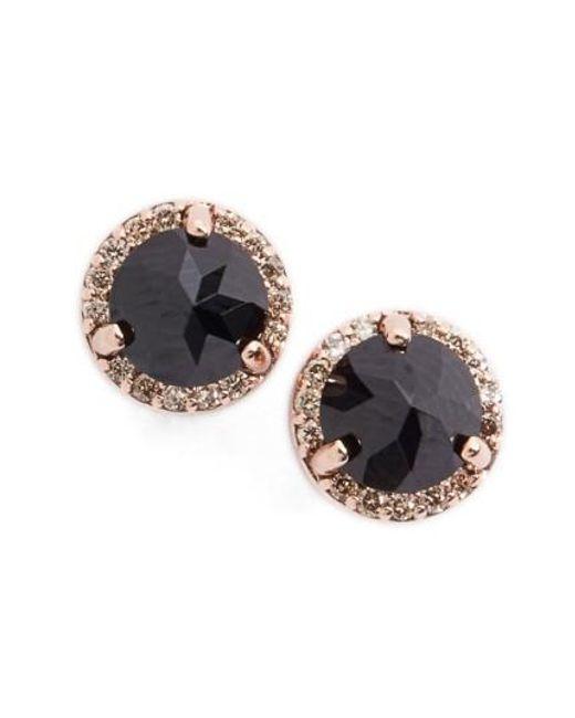 Anna Sheffield   Black Spinel & Champagne Diamond Rosette Stud Earrings   Lyst