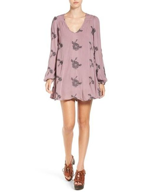 Free People | Black 'emma's' Embroidered Swing Dress | Lyst