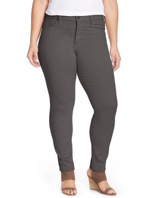 NYDJ | Black 'alina' Colored Stretch Skinny Jeans | Lyst