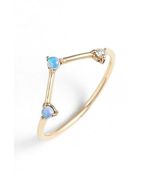 Wwake | Yellow Counting Collection Three-step Triangle Opal & Diamond Ring | Lyst