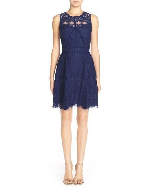 Adelyn Rae | Blue Illusion Yoke Lace Fit & Flare Dress | Lyst