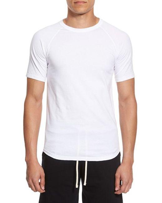Reigning Champ | White Jersey Raglan Crewneck T-shirt for Men | Lyst