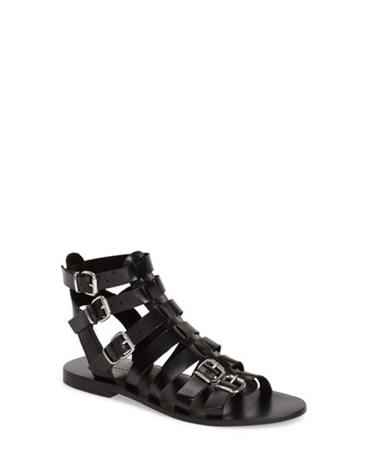 TOPSHOP | Black 'Favorite' Flat Gladiator Sandal | Lyst