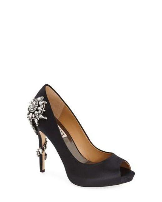 Badgley Mischka | Black 'royal' Crystal Embellished Peeptoe Pump | Lyst